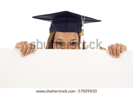 Friendly smiling graduation woman with a banner isolated over a white background - stock photo
