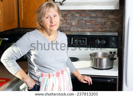 Friendly smiling grandmother or senior woman cooking in her kitchen - stock photo
