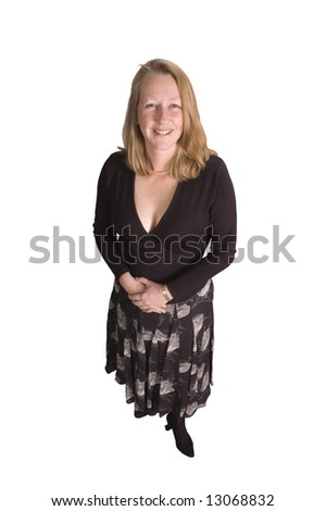 Friendly smiling middle-aged woman shot from above for dating service image, isolated on white