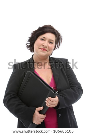 Friendly smiling plump middle-aged businesswoman holding a large leather folio isolated on white - stock photo