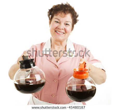 Friendly smiling waitress offers a choice between regular or decaffeinated coffee.  Isolated on white. - stock photo