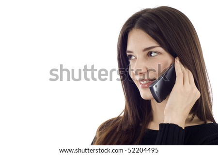 Friendly smiling woman on the phone, she's looking at the copyspce - stock photo
