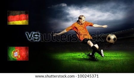 Friendly soccer match between Germany and Portugal - stock photo