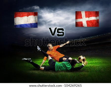 Friendly soccer match between Holland and Denmark - stock photo