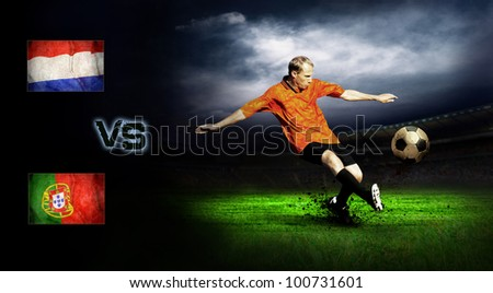 Friendly soccer match between Holland and Portugal - stock photo