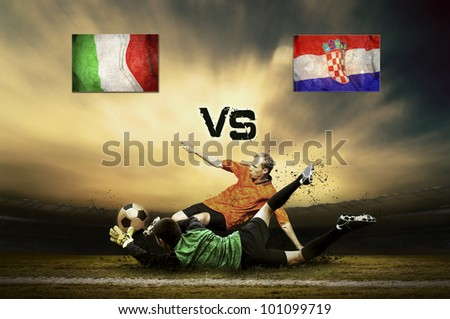 Friendly soccer match between Italy and Croatia - stock photo