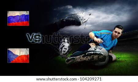 Friendly soccer match between Russia and Czech - stock photo