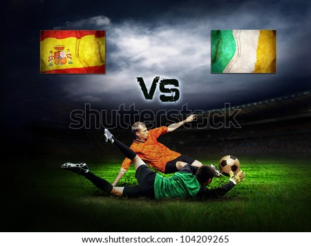 Friendly soccer match between Spain and Ireland - stock photo