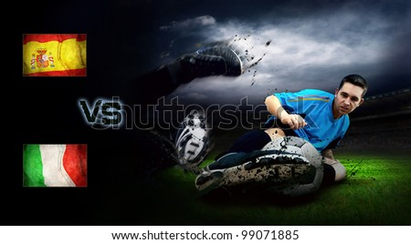 Friendly soccer match between Spain and Italy - stock photo