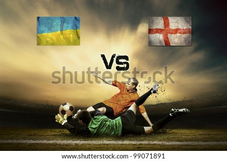 Friendly soccer match between Ukraine and England - stock photo