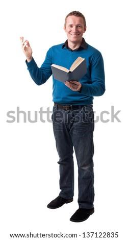 friendly teacher isolated on white background - stock photo