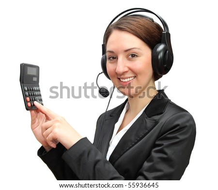 Friendly telephone operator with calculator . Ready to count down you finances - stock photo
