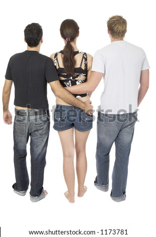 Friendly threesome, 2 men and 1 woman - stock photo