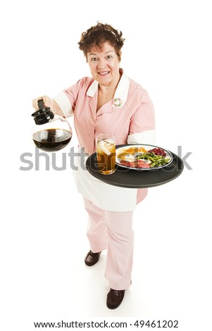 Friendly waitress bringing dinner and coffee for you. Full body isolated on white.