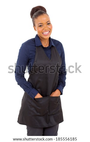friendly waitress half length portrait isolated on white