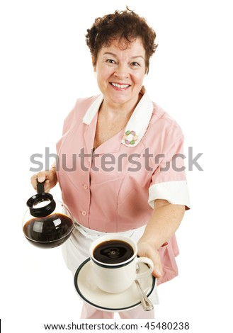 Friendly waitress serving a hot cup of coffee for you.  Isolated on white. - stock photo