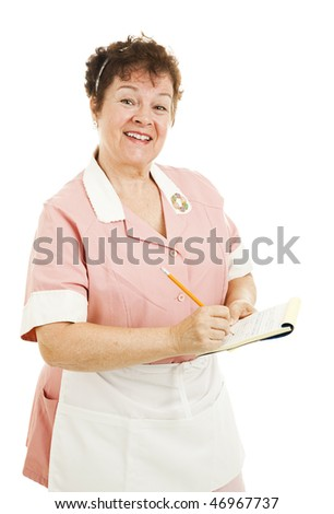 Friendly waitress taking your order.  Isolated on white. - stock photo