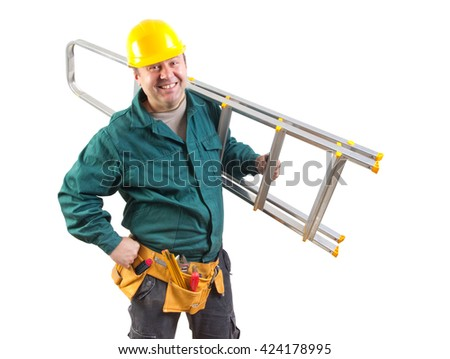friendly workman isolated on white background with clipping path included - stock photo