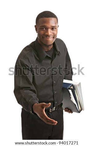 Friendly young black businessman holding binders reach out arm on isolated white background