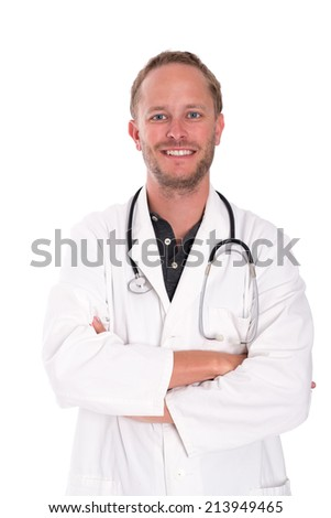 friendly young doctor with crossed arms