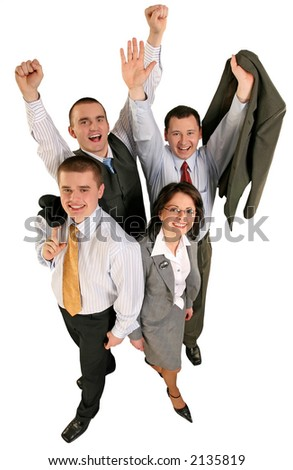 Friendly young group business team celebrate their success - stock photo