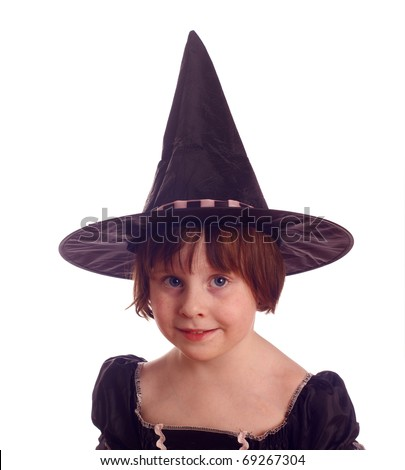 Friendly young halloween witch, isolated against background - stock photo