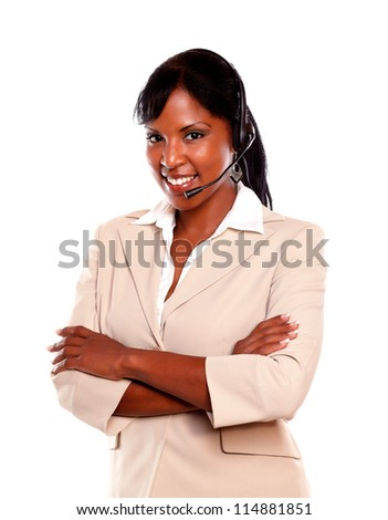 Friendly young receptionist wearing headset against white background - stock photo