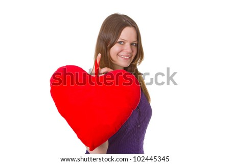 Friendly young woman with velvet heart - isolated on white background