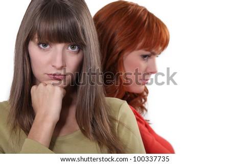 friends after quarrel - stock photo