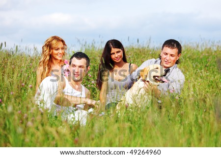 friends and dog