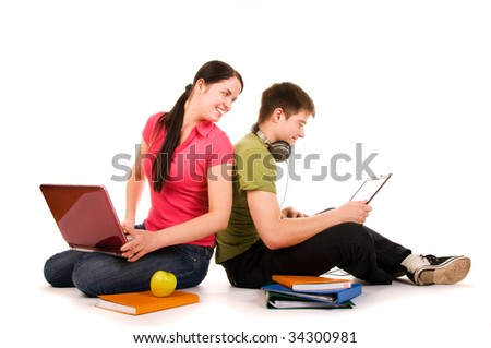 Friends are doing homework (isolated on white) - stock photo