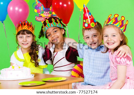 Friends at the birthday party - stock photo