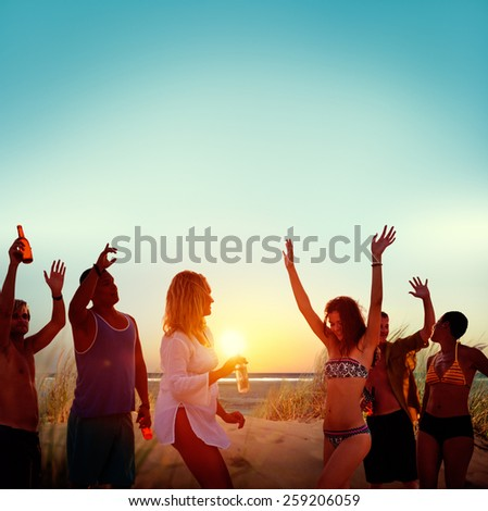 Friends Beach Party Drinks Toast Celebration Concept - stock photo