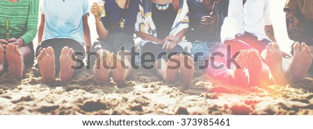 Friends Beach Vacation Party Chilling Concept - stock photo