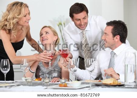 Friends celebrating - stock photo