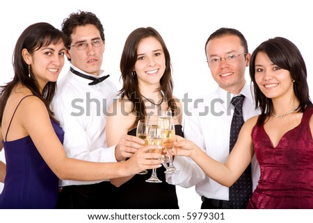friends celebrating with champagne isolated over a white background