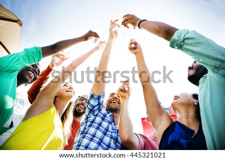 Friends Celebration Cheers Happiness Drunk Concept - stock photo