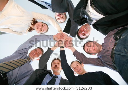 friends circle with hands - stock photo