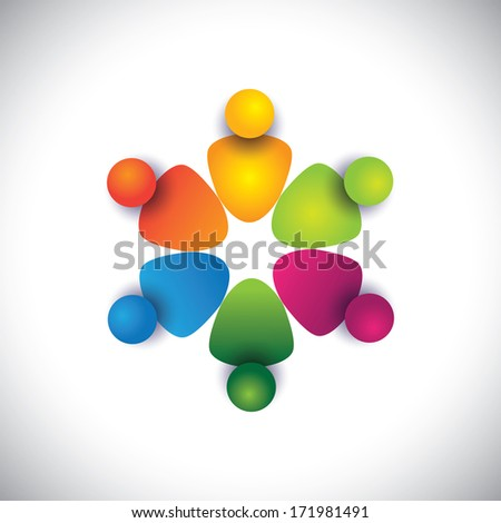 friends & companions together in circle showing friendship. The graphic can also represent employees unity, workers union, executives meeting, friendship, team work & team spirit - stock photo