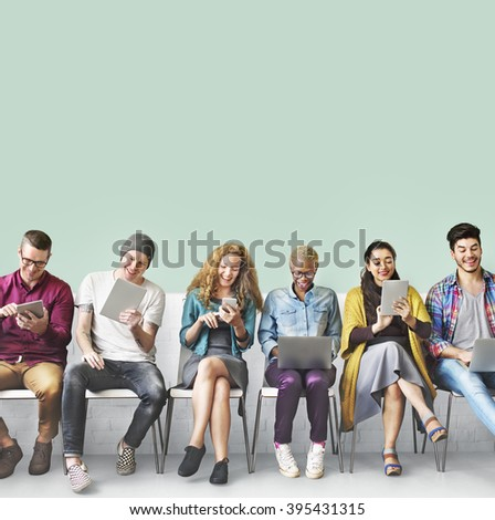 Friends Connection Digital Devices Technology Network Concept - stock photo