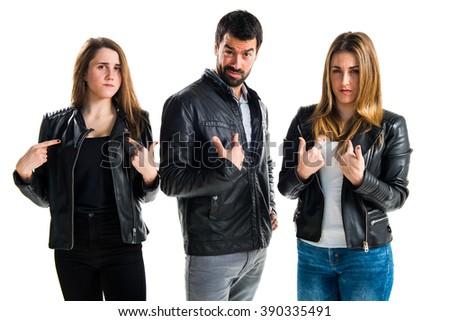 Friends doing surprise gesture - stock photo