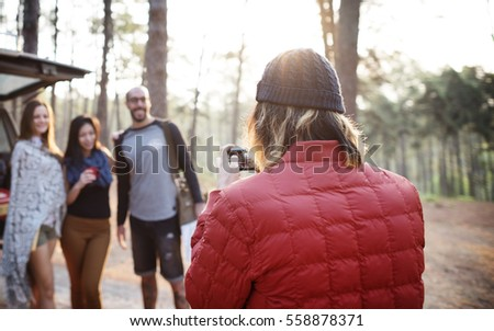 Friends Explore Nature Outdoors Concept