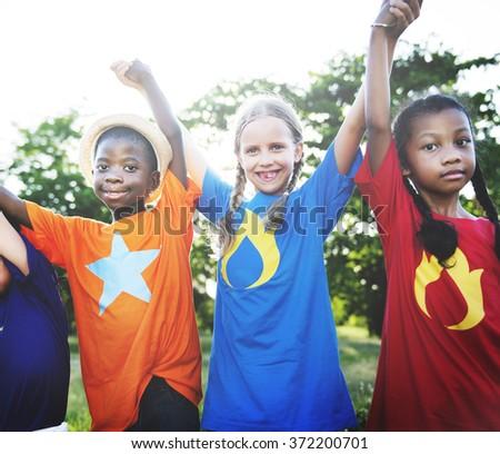 Friends Friendship Child Childhood Children Cheerful Concept - stock photo