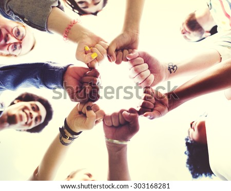 Friends Friendship Fist Bump Togetherness Concept - stock photo