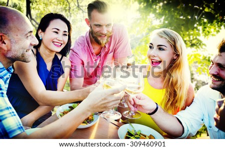 Friends Friendship Outdoor Chilling Togetherness Concept - stock photo