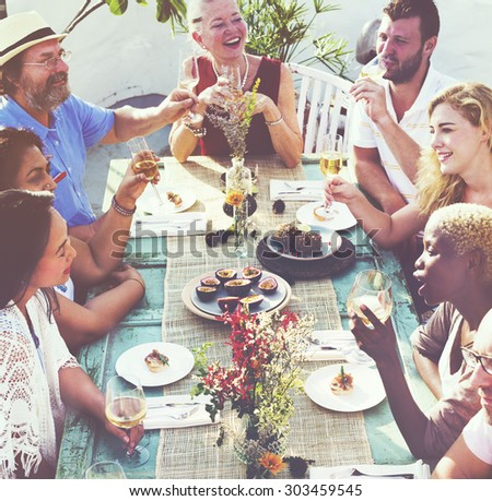 Friends Friendship Outdoor Dining Hanging out Concept