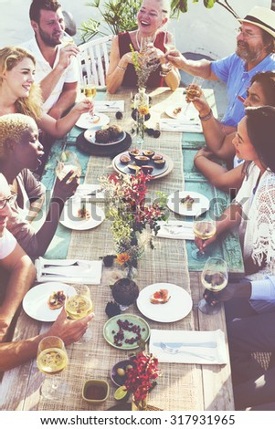 Friends Friendship Outdoor Dining Hanging out Concept - stock photo