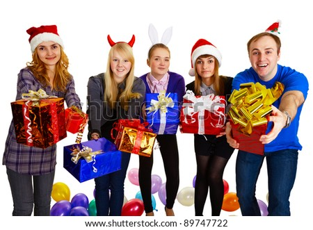 Friends give gifts on New Year's isolated on white - stock photo