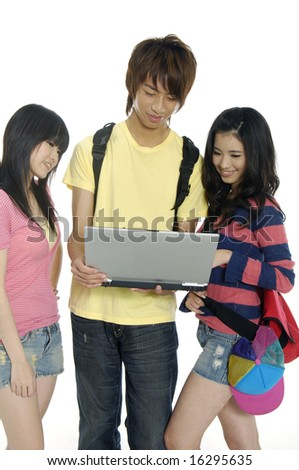 Friends group of students studying - stock photo