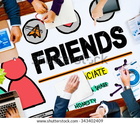 Friends Group People Social Media Loyalty Concept - stock photo